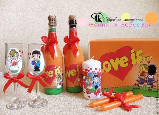 Свадебные аксессуары ручной работы. Ярмарка Мастеров - ручная работа. Купить Love is... Позитивный оранжевый. Handmade. Свадебный комплект