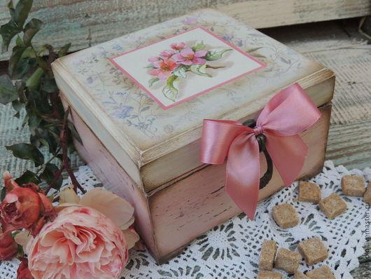 Шкатулки ручной работы. Ярмарка Мастеров - ручная работа. Купить короб чайный для пакетиков чая  Розовый шиповник. Handmade. Розовый