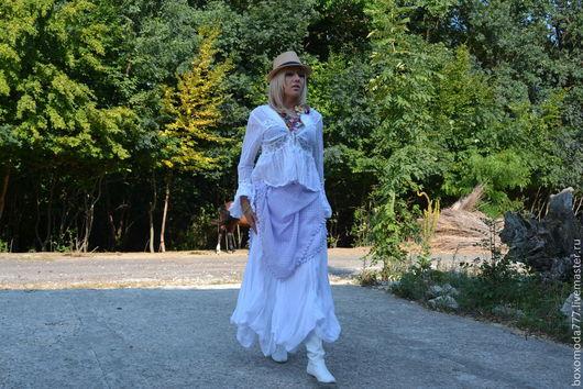 Костюмы ручной работы. Ярмарка Мастеров - ручная работа. Купить Юбка  + блуза. Handmade. Белый, стильно, кружево
