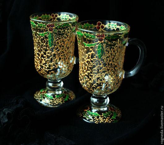 Новый год 2017 ручной работы. Ярмарка Мастеров - ручная работа. Купить Пара бокалов для глинтвейна Рождественское золото (0868). Handmade.