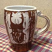 Посуда ручной работы. Ярмарка Мастеров - ручная работа Кружка с жуками. Handmade.