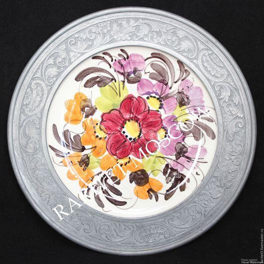 Винтажные предметы интерьера. Ярмарка Мастеров - ручная работа. Купить Тарелка панно цветы фарфор олово Германия 21,5см 68. Handmade.