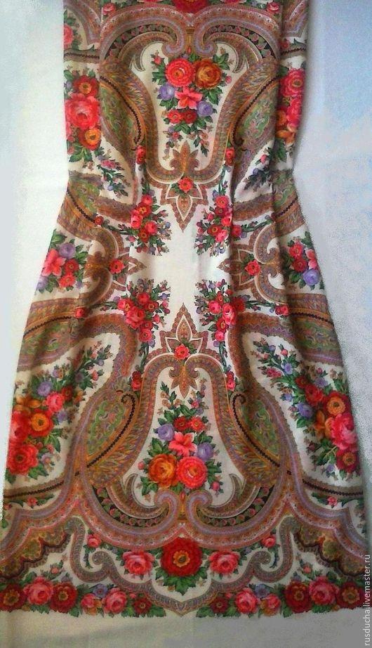 """Платья ручной работы. Ярмарка Мастеров - ручная работа. Купить Сарафан """"Любава"""" из павловопосадского платка. Handmade. Тёмно-синий"""