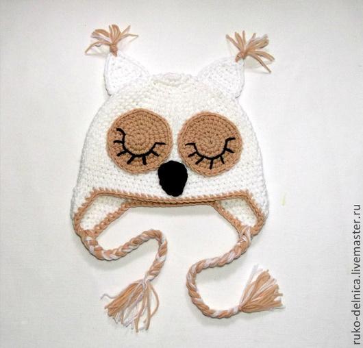 """Шапки и шарфы ручной работы. Ярмарка Мастеров - ручная работа. Купить шапочка """"Совушка"""" (шапка теплая зимняя вязаная с ушками) бежевый. Handmade."""