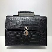 Сумки и аксессуары handmade. Livemaster - original item Men`s briefcase, crocodile skin, in black.. Handmade.