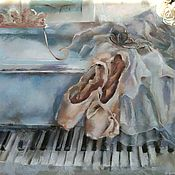 Pictures handmade. Livemaster - original item Pastel Painting musical still life (blue piano ballet Pointe). Handmade.