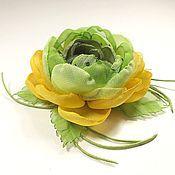 Украшения handmade. Livemaster - original item Lime Syrup. brooch - handmade flower fabric.. Handmade.