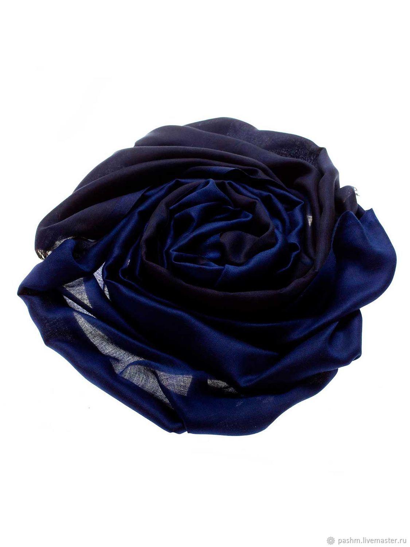 Палантин из кашемира и шелка сине-черный, Палантины, Москва,  Фото №1