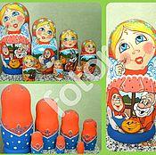 """Мягкие игрушки ручной работы. Ярмарка Мастеров - ручная работа Матрешка 7 местная со сказкой """"Колобок"""". Handmade."""