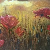 Картины и панно handmade. Livemaster - original item Oil painting poppies in the Golden rays of zakazat. Handmade.