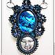 """Кулоны, подвески ручной работы. Ярмарка Мастеров - ручная работа. Купить Кулон """"Луна"""". Handmade. Тёмно-синий, лицо, кулон"""