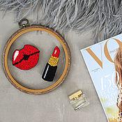 Украшения handmade. Livemaster - original item Set of two brooches: Red lipstick and lips. Handmade.