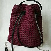Сумка торба вязаная с элементами из экокожи
