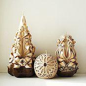 Сувениры и подарки ручной работы. Ярмарка Мастеров - ручная работа Резные свечи в наборе, коричневый бежевый, подарок на 8 марта женщинам. Handmade.