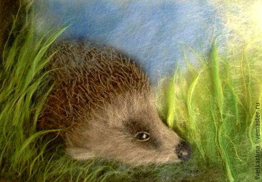 """Животные ручной работы. Ярмарка Мастеров - ручная работа. Купить Картина шерстью """"Ежик в траве"""". Handmade. Комбинированный, картина"""