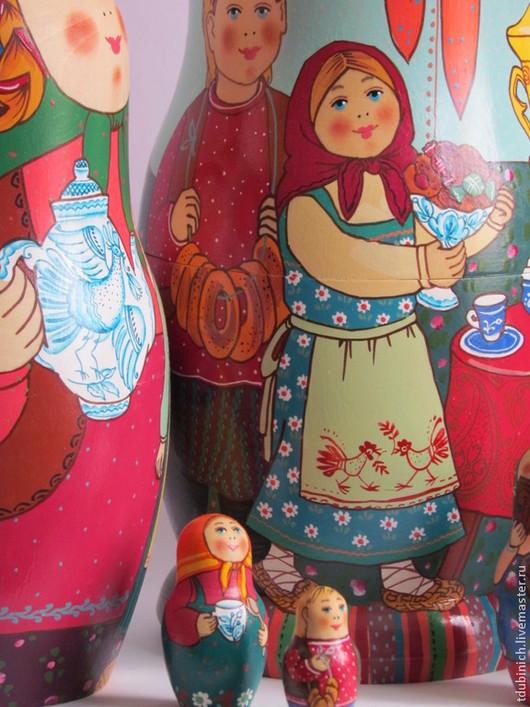 """Матрешки ручной работы. Ярмарка Мастеров - ручная работа. Купить Матрешка 10-местная """"Дружная семья"""", матрешка большая.. Handmade."""