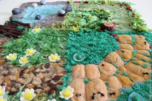 """Детская ручной работы. Ярмарка Мастеров - ручная работа. Купить Детский массажный коврик """"На прогулку!"""". Handmade. Зеленый, камни"""