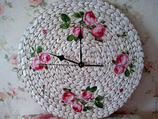 """Часы для дома ручной работы. Ярмарка Мастеров - ручная работа. Купить Часы настенные """"Аромат розы"""". Handmade. Белый"""