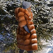 Одежда handmade. Livemaster - original item Longline vest hooded Fox fur - moth. Handmade.