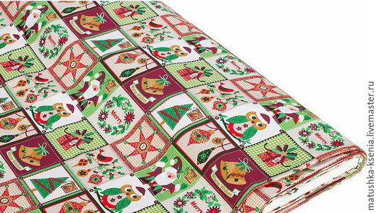 """Шитье ручной работы. Ярмарка Мастеров - ручная работа. Купить Ткань Германия """"Совы рождество"""" Новый год для тильды пэчворк. Handmade."""
