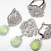 Серьги кулон кольцо пренит кубический цирконий серебро