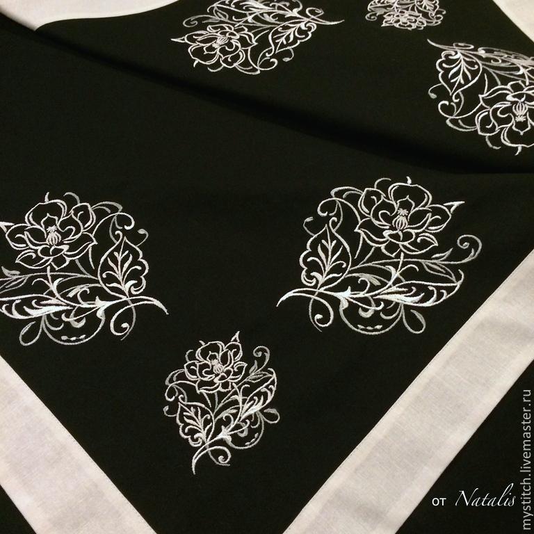 """Текстиль, ковры ручной работы. Ярмарка Мастеров - ручная работа. Купить Скатерть с вышивкой из ч/б льна """"Магнолия"""". Handmade. Скатерть"""