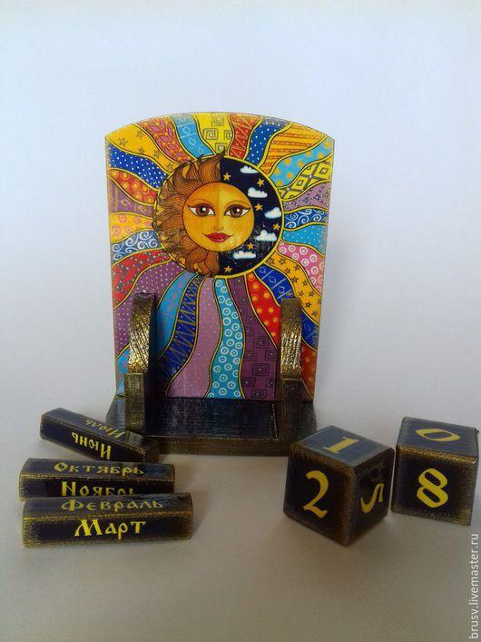 """Персональные подарки ручной работы. Ярмарка Мастеров - ручная работа. Купить календарь """"день и ночь"""". Handmade. Комбинированный, роспись, луна"""