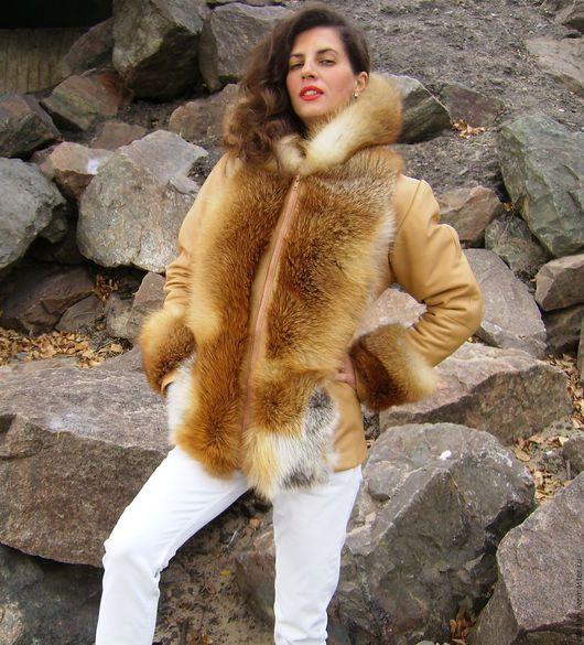 Верхняя одежда ручной работы. Ярмарка Мастеров - ручная работа. Купить Зимняя куртка из бежевой кожи с лисой. Handmade. куртка
