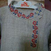 Русский стиль handmade. Livemaster - original item The color of hemp with embroidery Slavic amulets. Handmade.