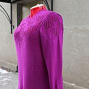Одежда ручной работы. Ярмарка Мастеров - ручная работа весенний сиреневый пуловер с ажурными вставками. Handmade.