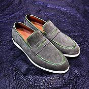 Обувь ручной работы handmade. Livemaster - original item Men`s loafers made of genuine suede and genuine python leather. Handmade.