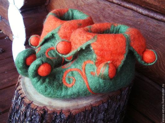 Обувь ручной работы. Ярмарка Мастеров - ручная работа. Купить Эльфы с пумпонами. Handmade. Болотный, эльфы, тапоки из шерсти