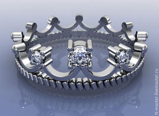 """Кольца ручной работы. Ярмарка Мастеров - ручная работа. Купить Кольцо """"Корона"""". Handmade. Серый, кольцо в подарок, цирконы"""