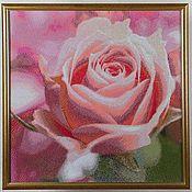 """Картины и панно ручной работы. Ярмарка Мастеров - ручная работа Декоративное панно """"Королева цветов"""". Алмазная мозаика, роза. Handmade."""