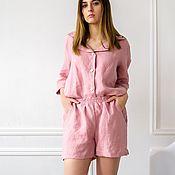 Пижамы ручной работы. Ярмарка Мастеров - ручная работа Пижама из умягченного 100% льна с эффектом мятости. Рубашка и шорты. Handmade.