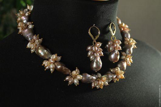 """Колье, бусы ручной работы. Ярмарка Мастеров - ручная работа. Купить Ожерелье """"Весеннее"""". Handmade. Бледно-розовый, жемчуг барочный"""