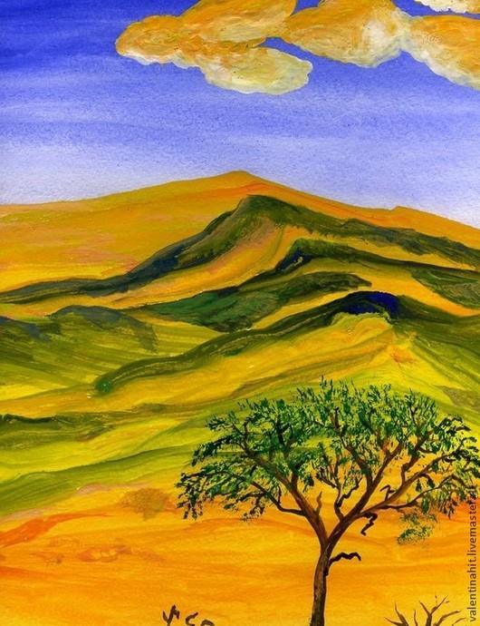 """Пейзаж ручной работы. Ярмарка Мастеров - ручная работа. Купить картина """"Фантастические краски гор"""" (оранжевый, фиолетовый). Handmade. Горы"""