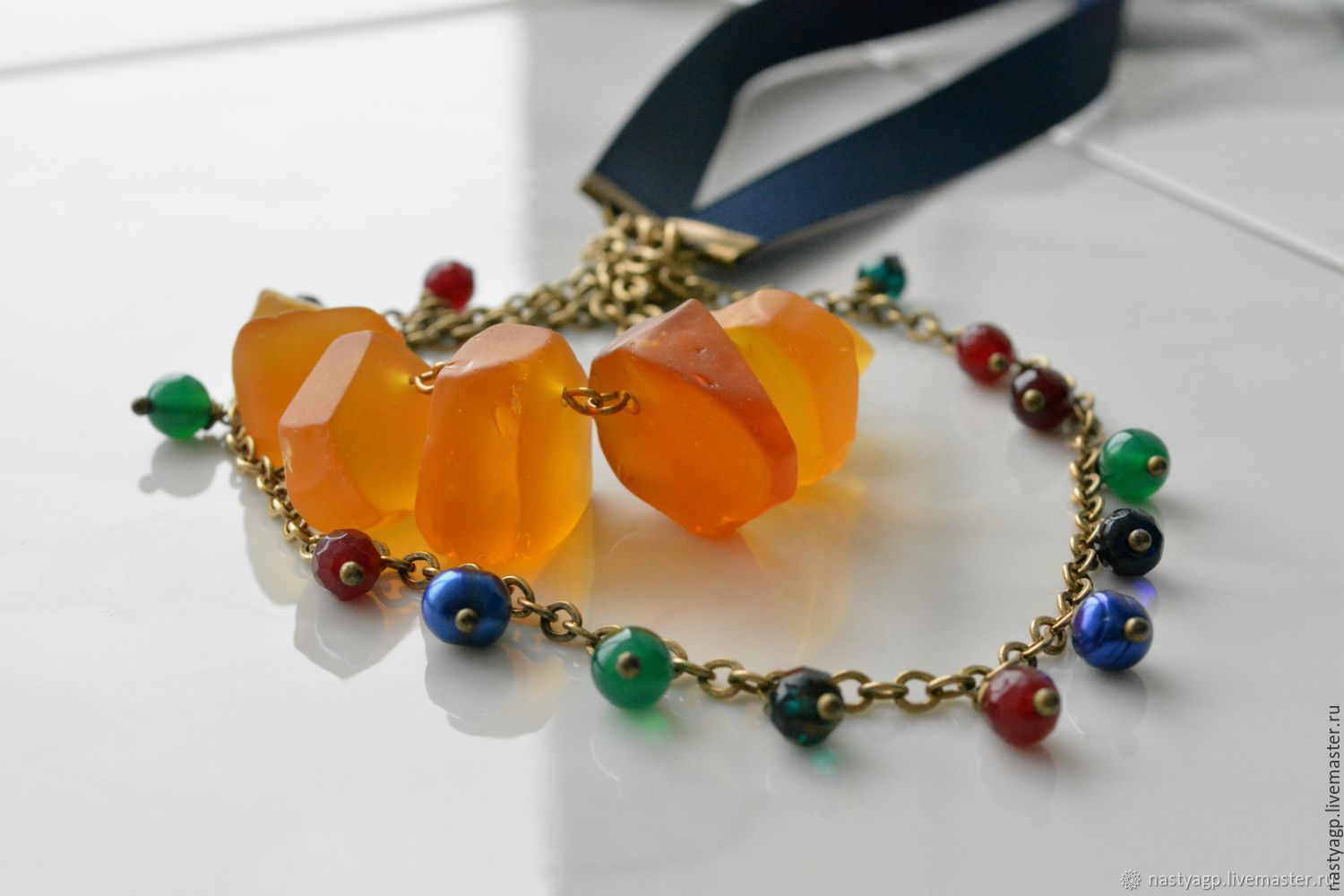 Boho necklace beads on a ribbon Indian summer, Beads2, Moscow,  Фото №1