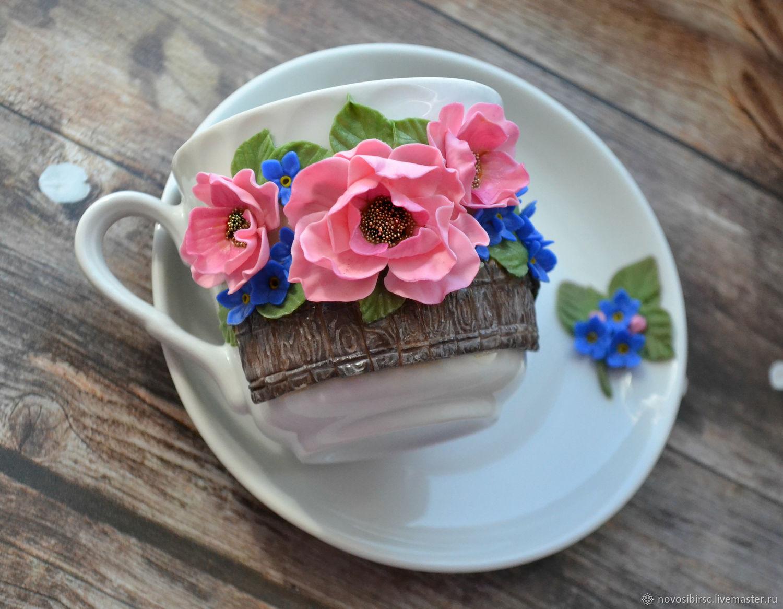 Сервизы, чайные пары ручной работы. Ярмарка Мастеров - ручная работа. Купить Чайная пара Цветы. Handmade. Подарок