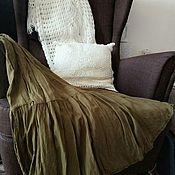 Одежда ручной работы. Ярмарка Мастеров - ручная работа Юбка ярусная жатая Хаки хлопок. Handmade.