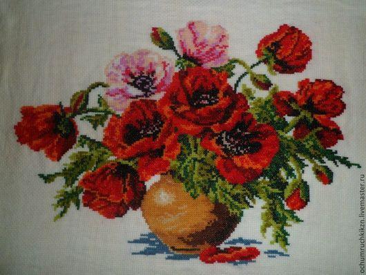 Картины цветов ручной работы. Ярмарка Мастеров - ручная работа. Купить Маки в вазе. Handmade. Цветы, картина, Вышитая картина