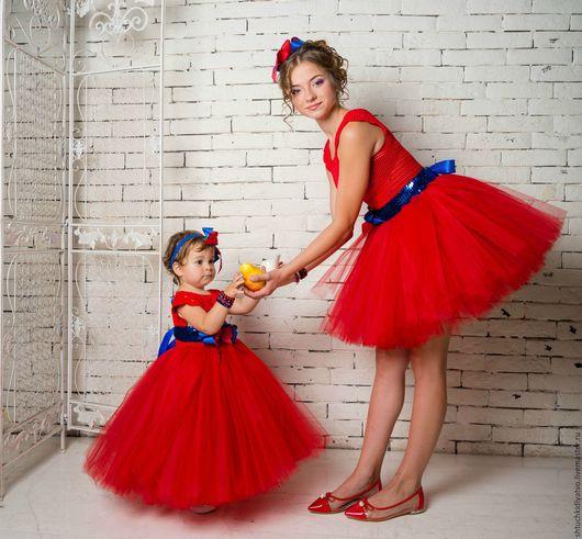 Одежда для девочек, ручной работы. Ярмарка Мастеров - ручная работа. Купить Авторское пышное платье красное с синим. Handmade. Комбинированный