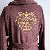 Одежда ручной работы. Ярмарка Мастеров - ручная работа Коричневый махровый халат с вышивкой 15172. Handmade.