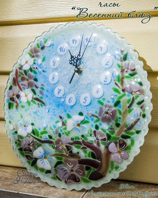 Часы для дома ручной работы. Ярмарка Мастеров - ручная работа. Купить Часы Весенний блюз. Handmade. Фьюзинг, сакура