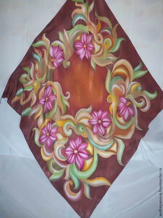 Шали, палантины ручной работы. Ярмарка Мастеров - ручная работа. Купить Шаль Барокко с кистями. Handmade. Батик, стилизованыё цветы