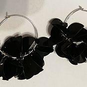 Украшения handmade. Livemaster - original item Hoop earrings: black sequins. Handmade.