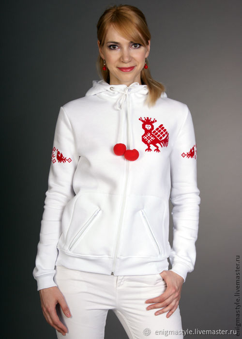 White cotton sweatshirt, clothing with Russian ornaments, Sweater Jackets, Novosibirsk,  Фото №1