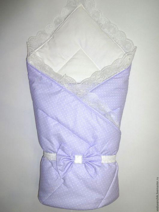 Для новорожденных, ручной работы. Ярмарка Мастеров - ручная работа. Купить Конверт-одеяло на выписку. Handmade. Бледно-сиреневый, малыш