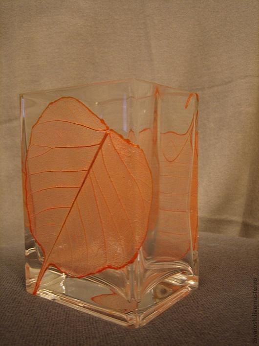 Вазы ручной работы. Ярмарка Мастеров - ручная работа. Купить Ваза стеклянная Листопад. Handmade. Рыжий, ваза для цветов