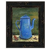 """Картины ручной работы. Ярмарка Мастеров - ручная работа Картина акрилом """"Синий кофейник"""". Handmade."""